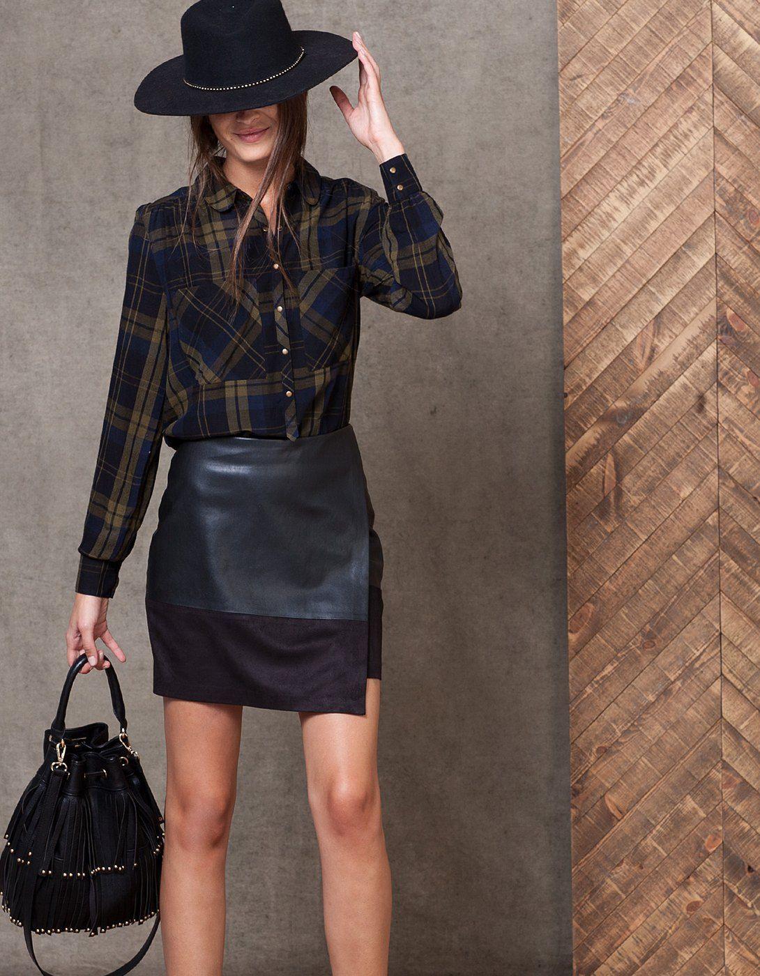 Crepe check print shirt - SHIRTS - WOMAN | Stradivarius Bulgaria