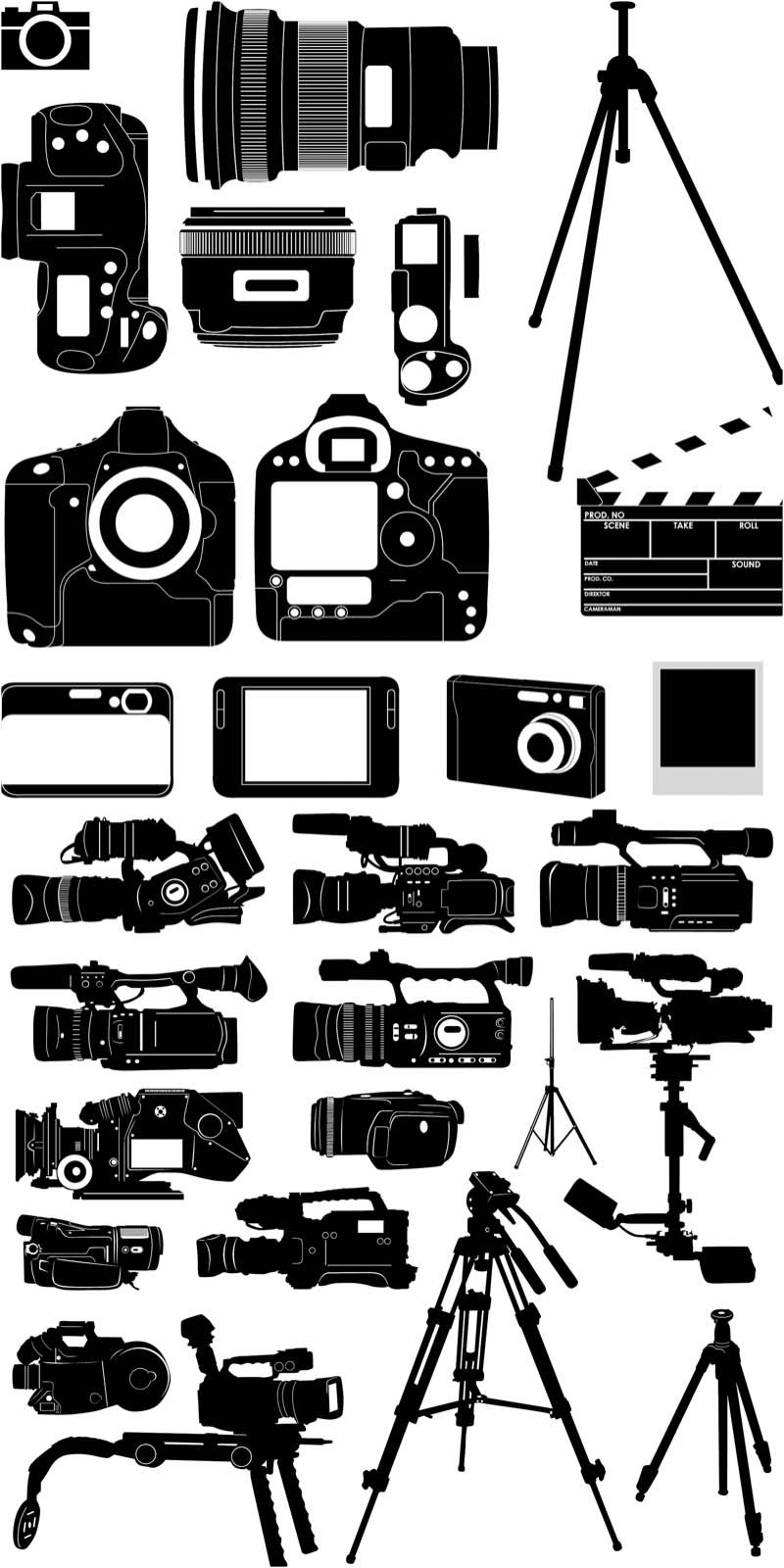 silhouette of the camera vector (Dengan gambar) Siluet