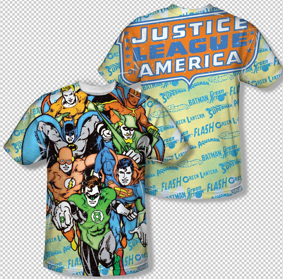 Aquaman Underwater DC Comics Allover Print Sublimation Licensed Adult T Shirt Heren: kleding Kleding en accessoires