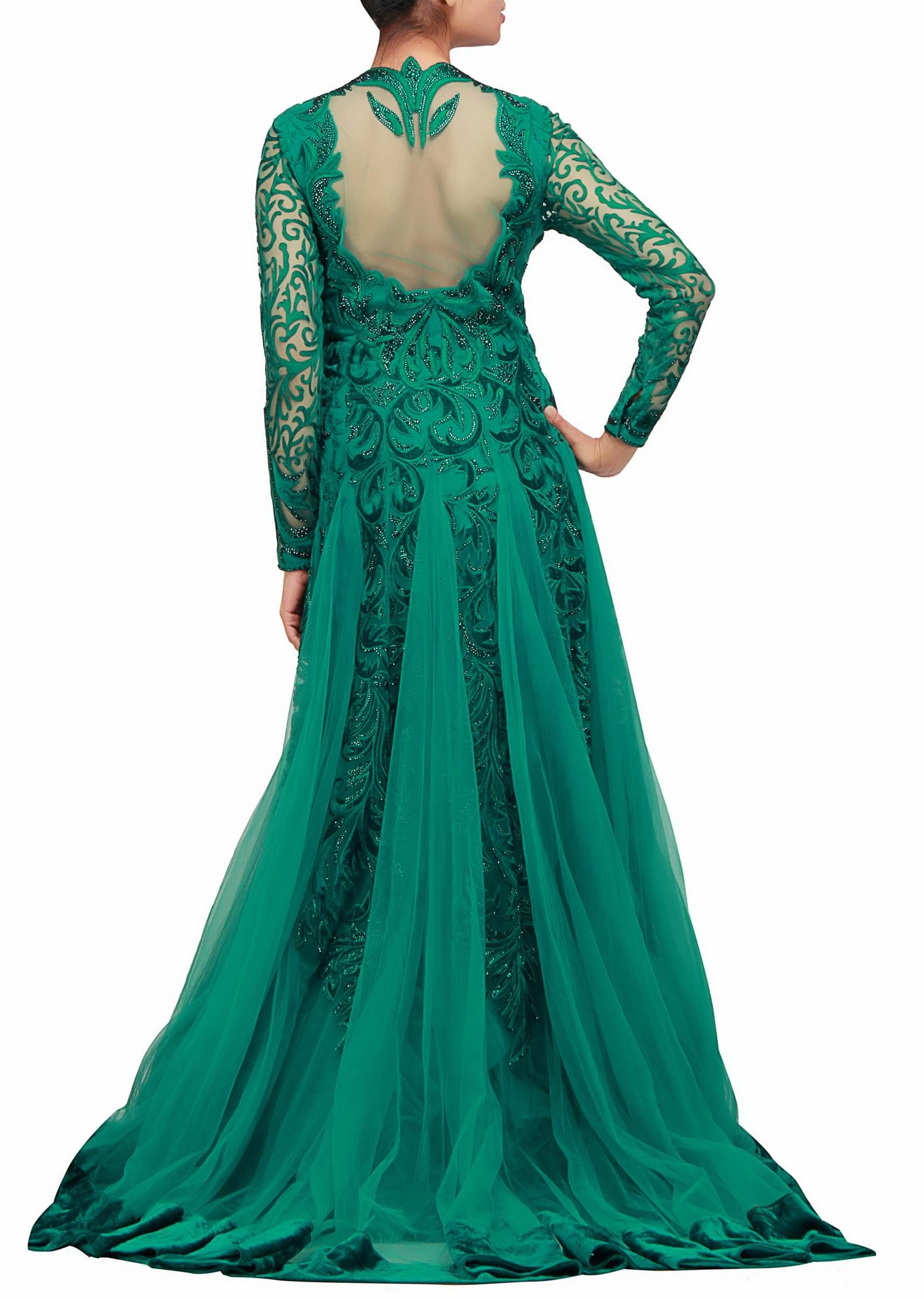 An anarkali style gown in dark cyan with resham and velvet patch ...