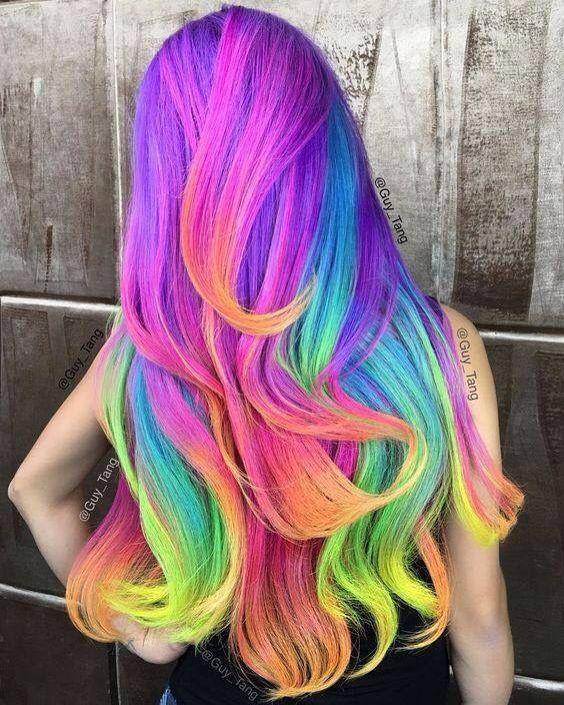 Unicorn Hair Fantasy Color Pink Blue Yellow Orange Cabelos