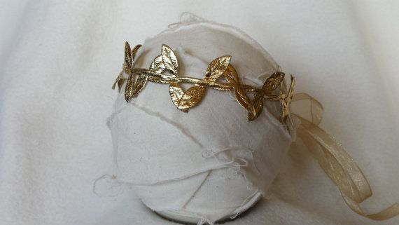 Greek Goddess Prom Hair Piece Golden Leaves by primroseandpatches