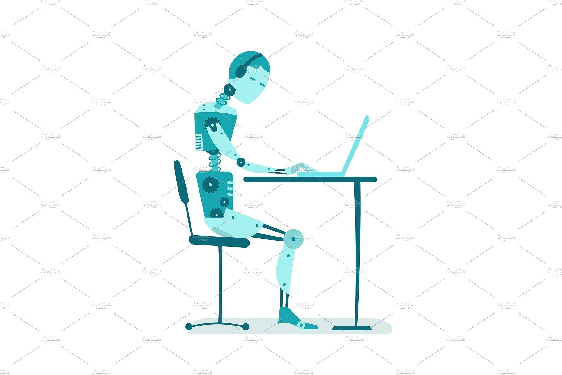 The Robot Is Sitting At The Table Color Vector Sit Table
