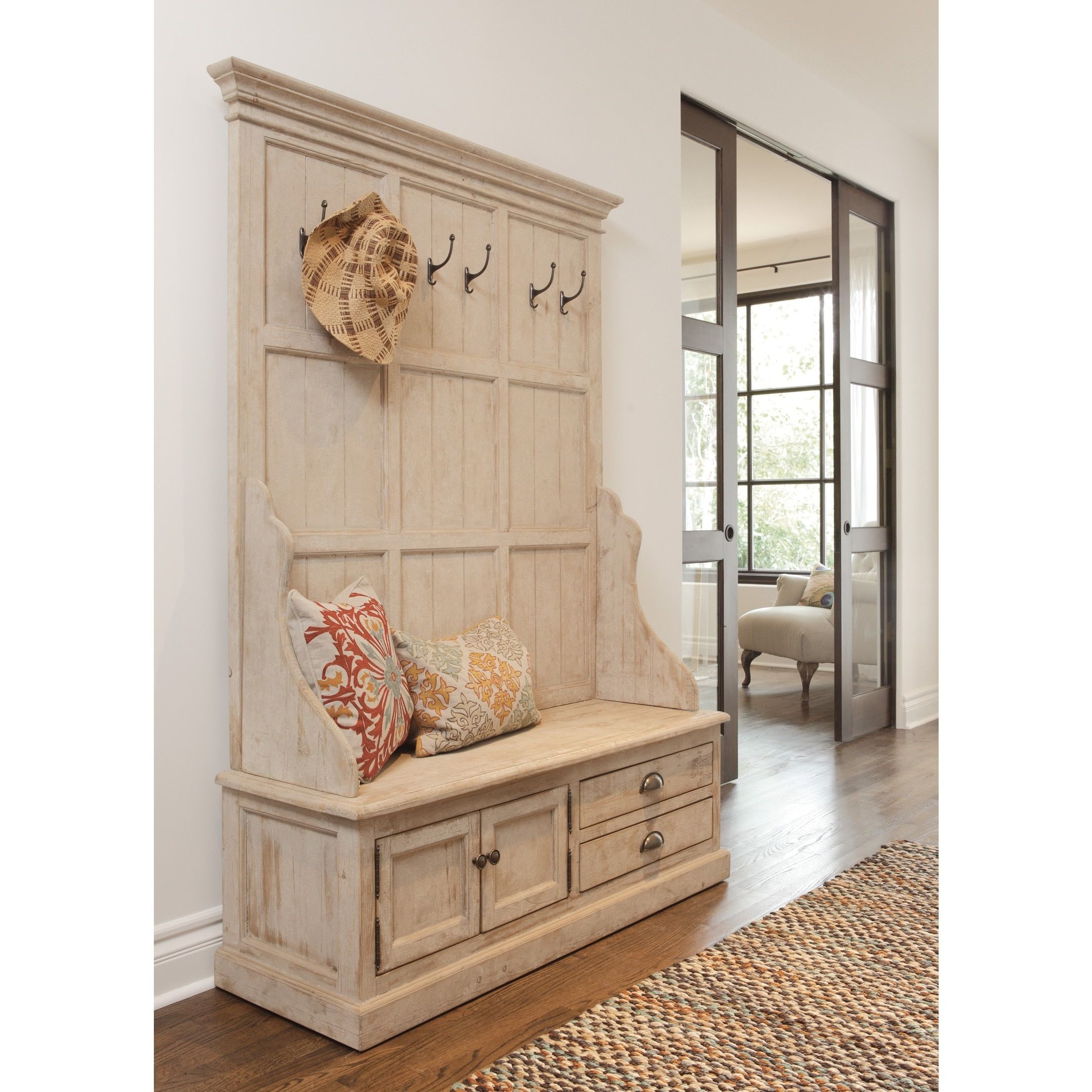 entry way storage of hooks lara pinterest with entryway elegant bench