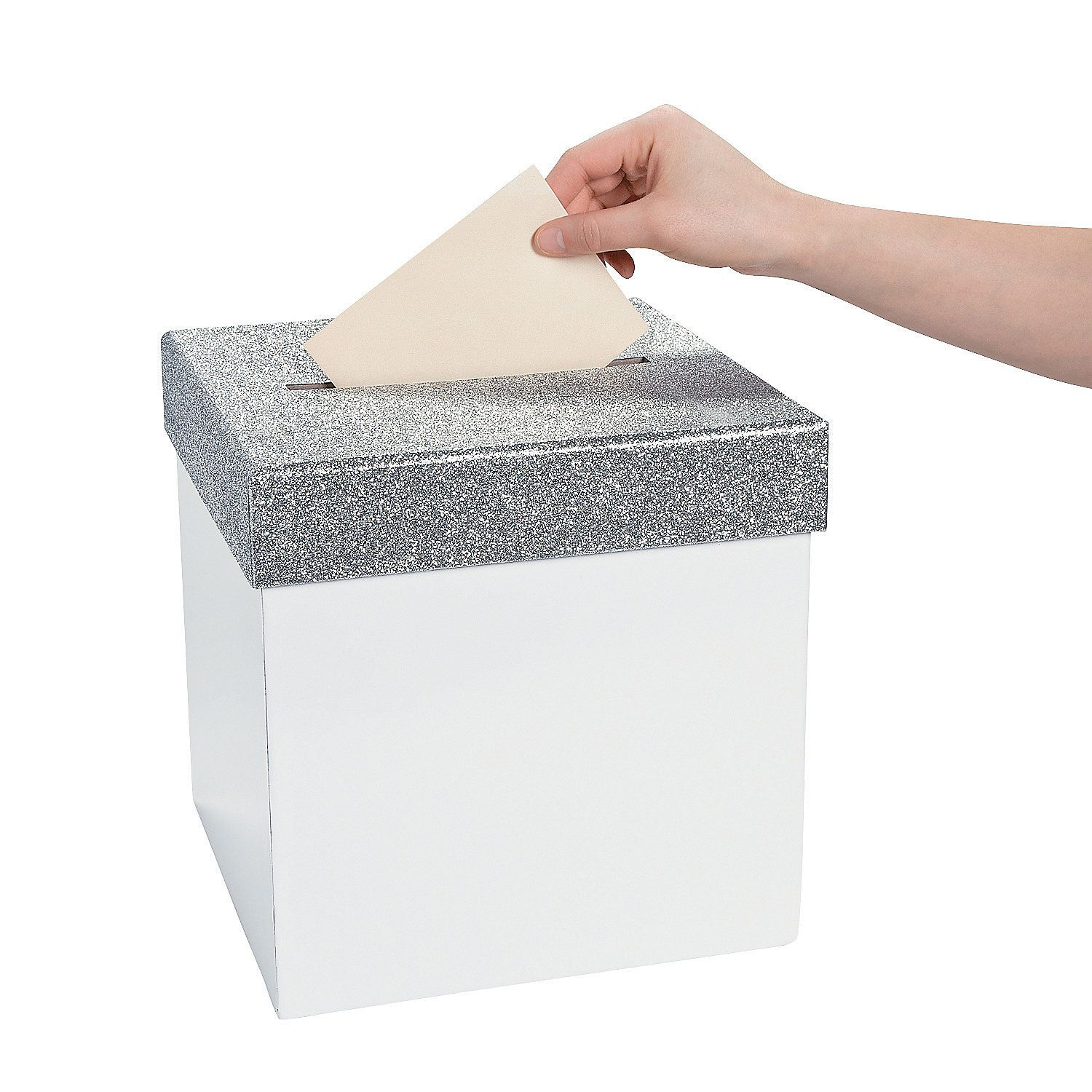 White with Silver Glitter Lid Card Box   Silver glitter, Hockey ...