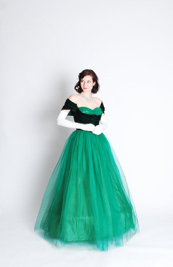 Vintage 1940s Formal Dress 40s Prom Gown Emerald Green 1940s