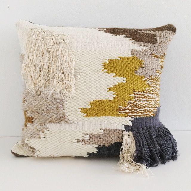 Ochre Woven Pillow Woven Pillows Tapestry Weaving Pillows