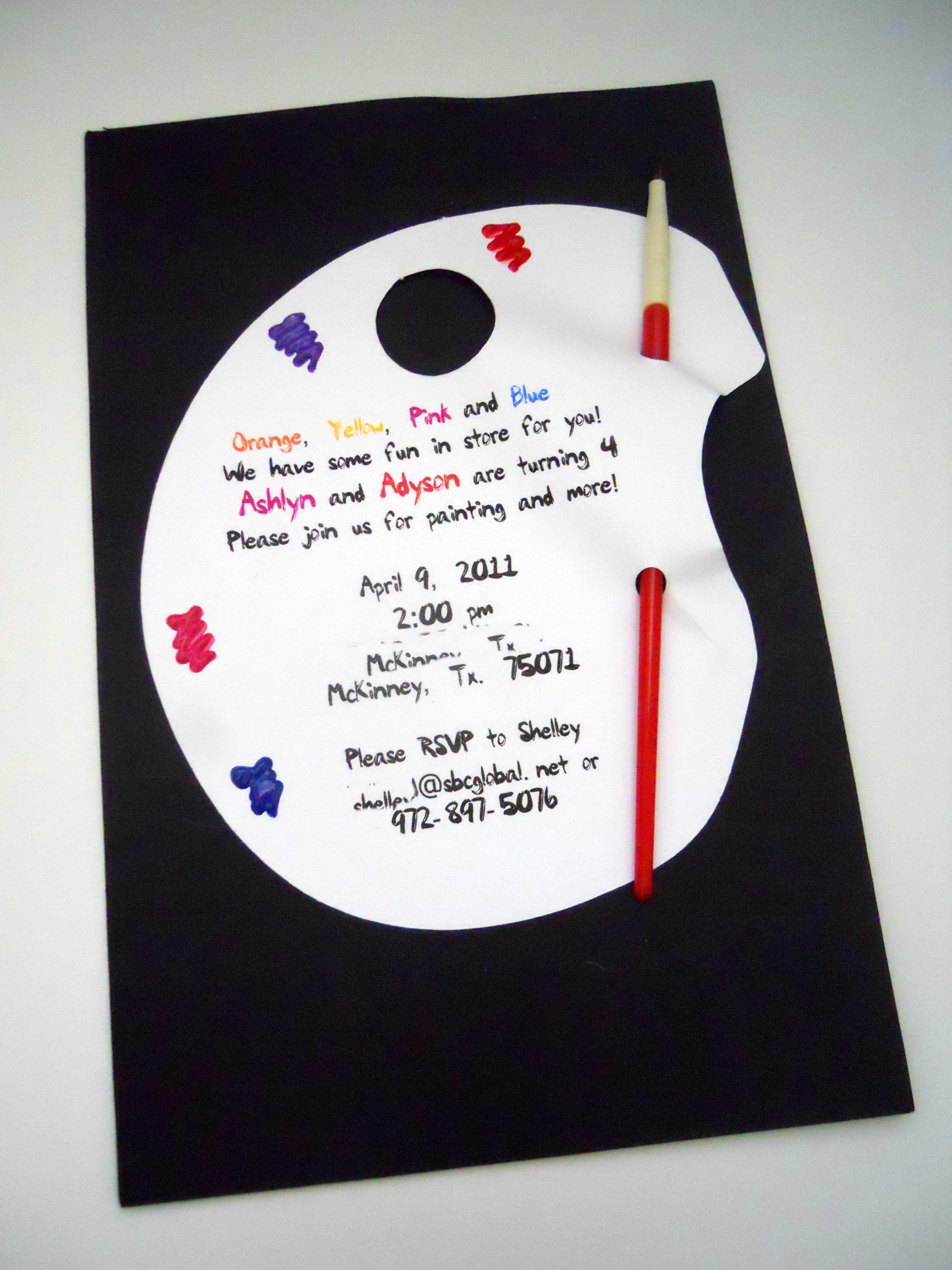 Paint Party Invitation | Paint Party | Pinterest | Paint party and ...