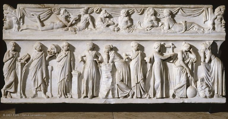 Sarcophagus of the Muses; the decoration illustrates the ideal of the cultivated man as manifested in Roman funerary art of the second to fourth centuries CE. Each of the nine Muses is endowed with a distinctive attribute. According to a belief attested in Greece as early as the fourth century BCE, the practice of literature and the arts under the inspiration of the Muses eased the passage of the dead into the hereafter and ensured the salvation of their souls. | Louvre Museum | Paris