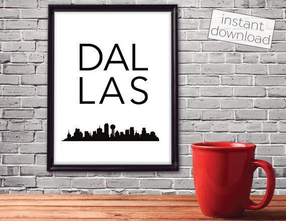 Dallas Print, Dallas Skyline, Dallas Poster, Printable Art, Instant ...