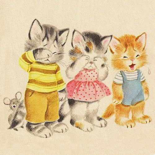3 Little Kittens Who Lost Their Mittens Cats Illustration Vintage Cat Cat Art