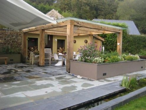 Photo of green-oak-stainless-steel-contemporary-glass-roof-roofed-pergola-jacuzzi-garden -…
