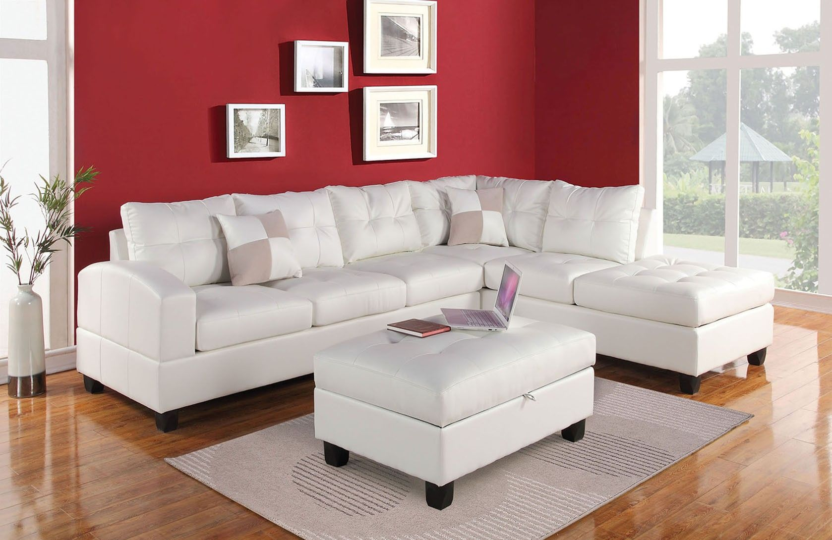 Kiva Collection 51175 White Sectional Sofa | Leather sectional sofas ...