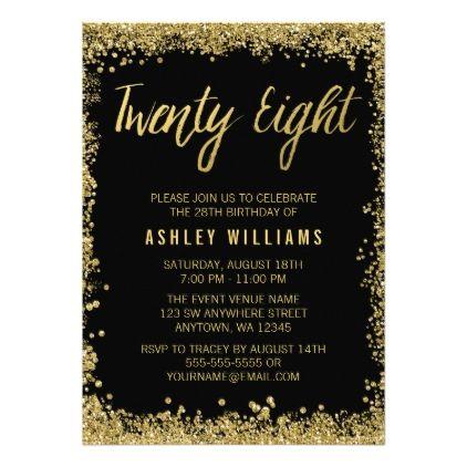 Black Gold Faux Glitter 28th Birthday Invitations Zazzle Com 21st Birthday Invitations Glitter Invitations Birthday Holiday Party Invitations