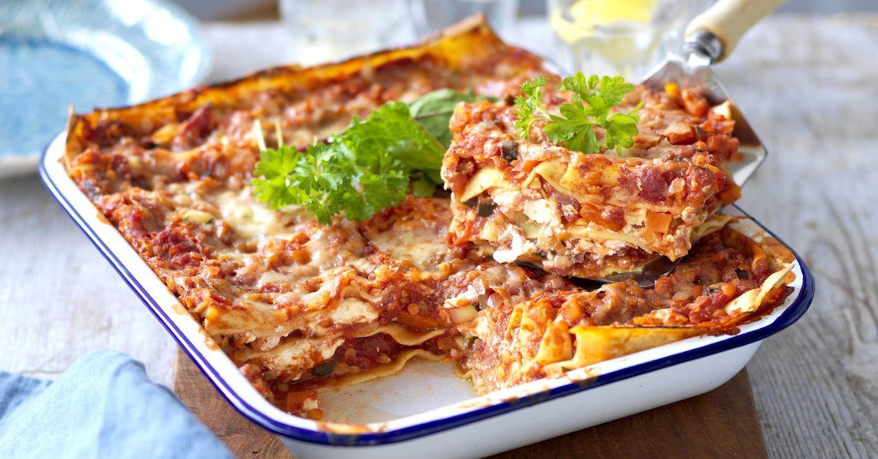 vegetarisk lasagne med mozzarella