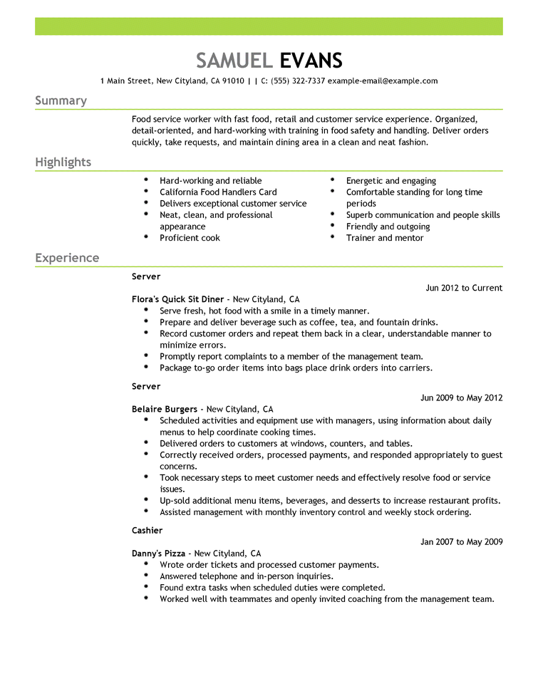 Server Resume Examples Resume Sample Senior  Home Design Idea  Pinterest  Sample