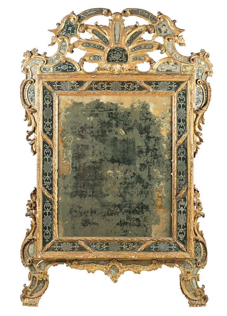 Gran espejo veneciano con marco de espejos grabados Rococó en madera ...