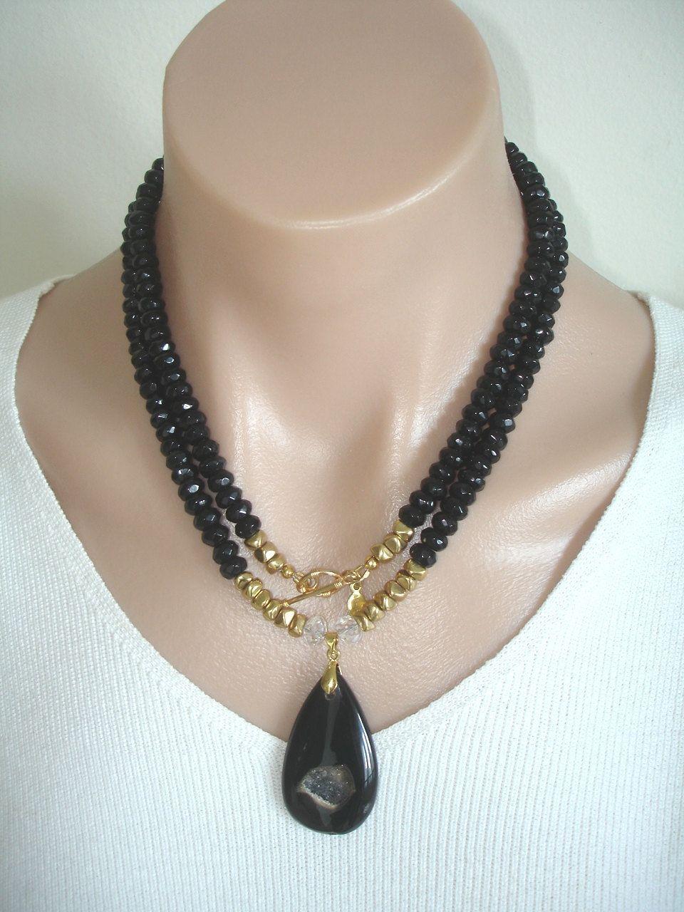 2063861a5a37 Ashira Black Onyx Gemstone Necklace with Luscious Black Agate Druzy ...