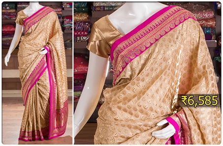 Define gorgeousness with this beige printed saree with pink border and pallu that make this outfit ultimately eyepopping.