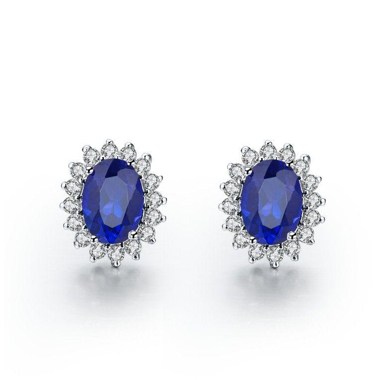 1 5 Carat Piece Amazing Pretty Water Drop Synthetic Diamond Stud Earrings Blue Semi Gemstone