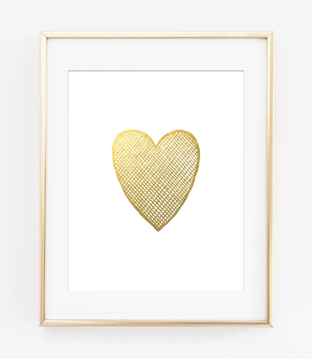 Gold Heart Printable Art Print, Gold Crosshatched Heart, Gold Heart ...