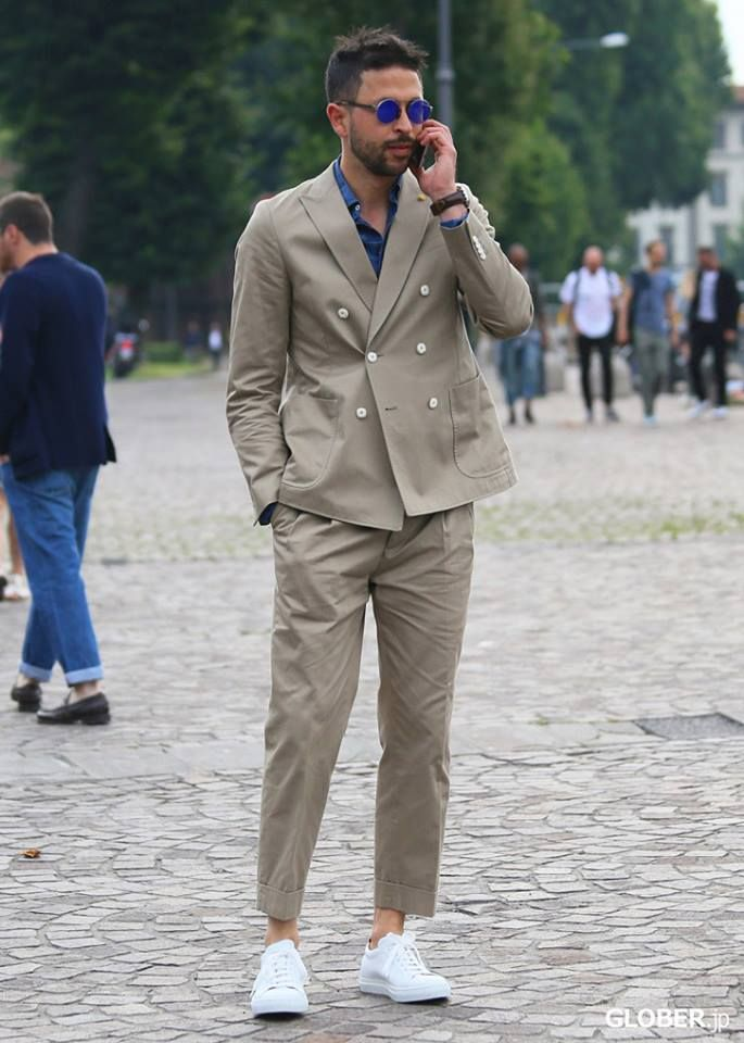 Double-breasted beige summer suit | Fashion Design Men | Pinterest