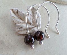 Minimal Earrings dainty garnet earrings deep by MaisyGraceDesigns