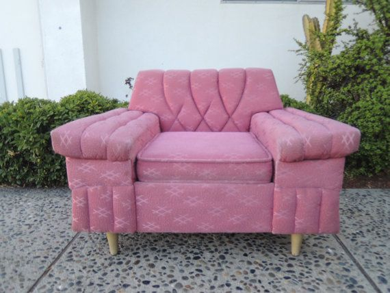 MID CENTURY MODERN Lounge Chair in Pink Chenille Los Angeles by ...