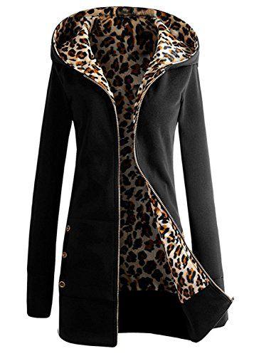 ... Longue Sweat à capuche Hood Hoodie Coton Sweat-shirt Sweatshirt Coat  Manteau Jacket Veste Blouson Haut Top Zippé Closure Boutonnée Boutonnés Noir  L a96513d4606d