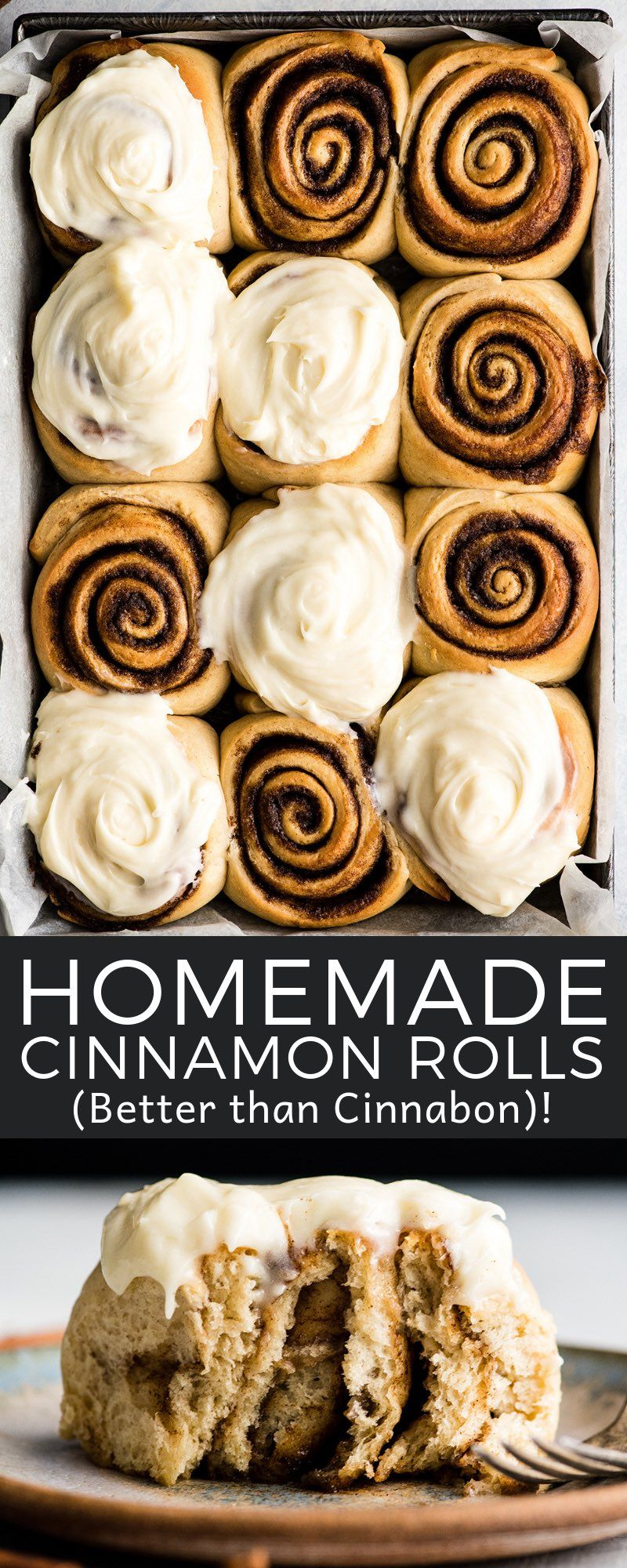 This is the Best Homemade Cinnamon Rolls Recipe EVER! These gooey cinnamon rolls are even better than Cinnabon cinnamon rolls, and are topped with the best cream cheese frosting! They're easy to make and can be prepared the day before and left to rise overnight in the refrigerator.