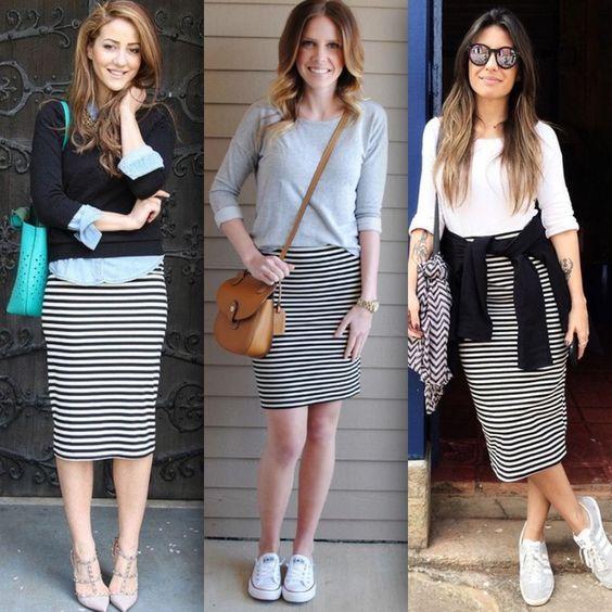 e02349aba Falda rayada/pollera tubo rayada/falda tubo/ropa casual/primavera ...