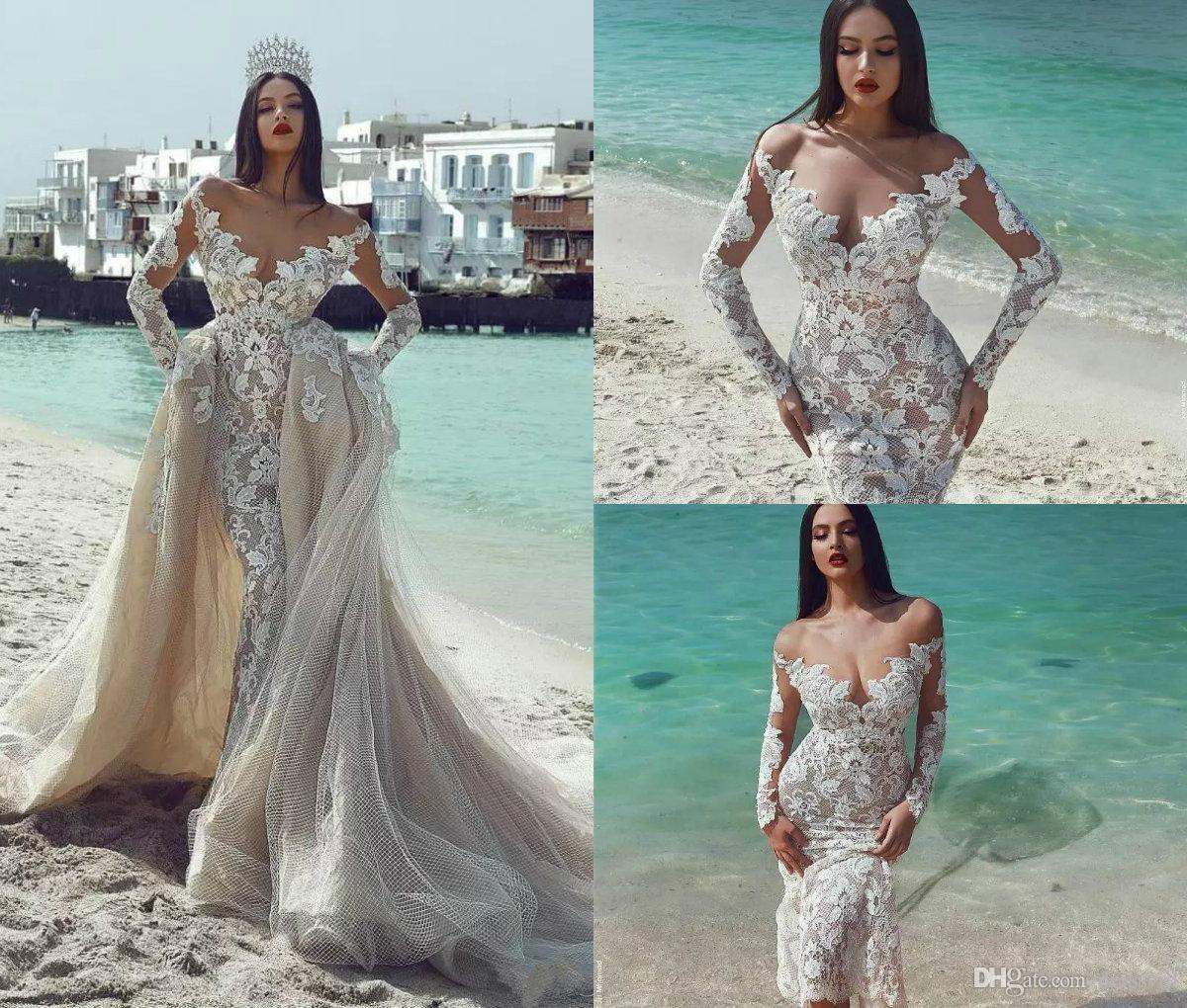 2018 mermaid wedding dresses with detachable train lace