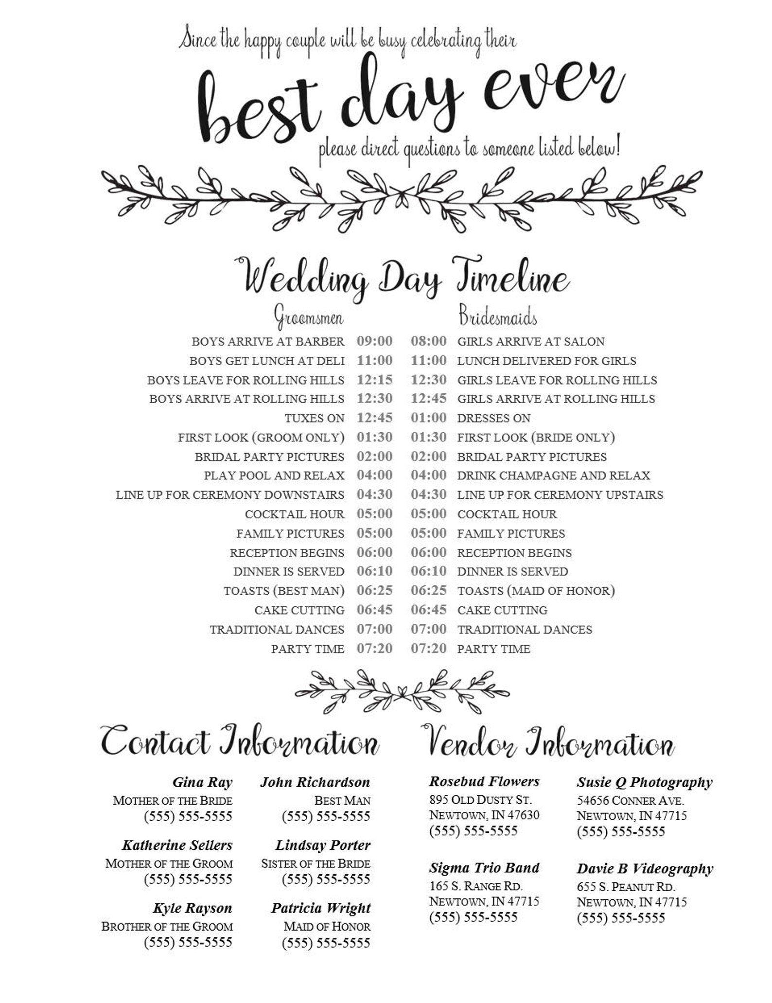 Editable Wedding Timeline Edit in Word Phone numbers