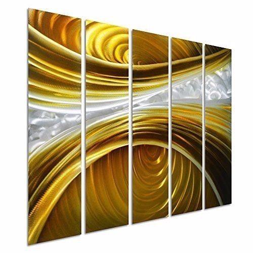 Abstract Metal Wall Art Silver Gold Hanging Sculpture Modern ...