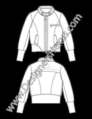 008 Mandarin Collar Cropped Puffer Jacket Flat Fashion Sketch Free Download And More Flat Fashion Sketches I Flat Sketches Fashion Flats Puffer Jacket Style