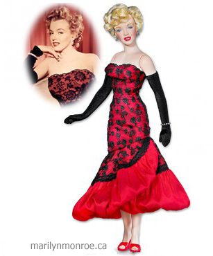 """Franklin Mint Marilyn Monroe, Don't Bother To Knock Premiere: 16.5"""" tall, based on dress they say she wore to the 1952 premiere of """"Don't Bother to Knock"""".   However, there are conflicting reports that Marilyn never actually attended this film's premiere. Released 2011, Original price $135 Z"""