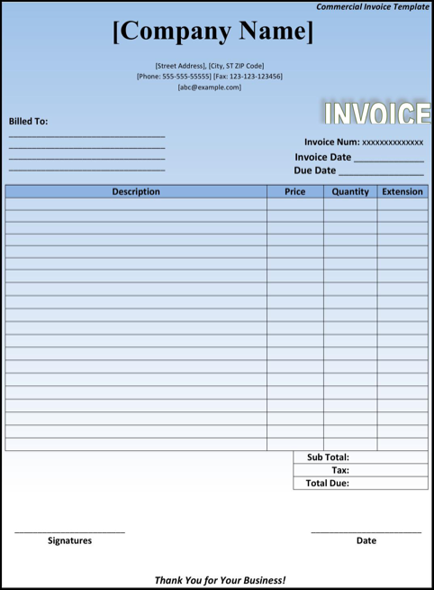 Commercial Invoice Template TemplatesForms – Comercial Invoice Template