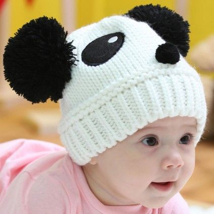 4364f2635e1c3 Beautiful Black and White Infant and Toddler Hat in Knitted Pattern ...
