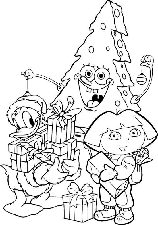 bce81dc17baaf5daf1451df8d17104e0 » Christmas Sponge Bob Coloring Page