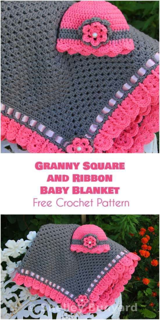 Granny Square And Ribbon Baby Blanket Free Crochet Pattern