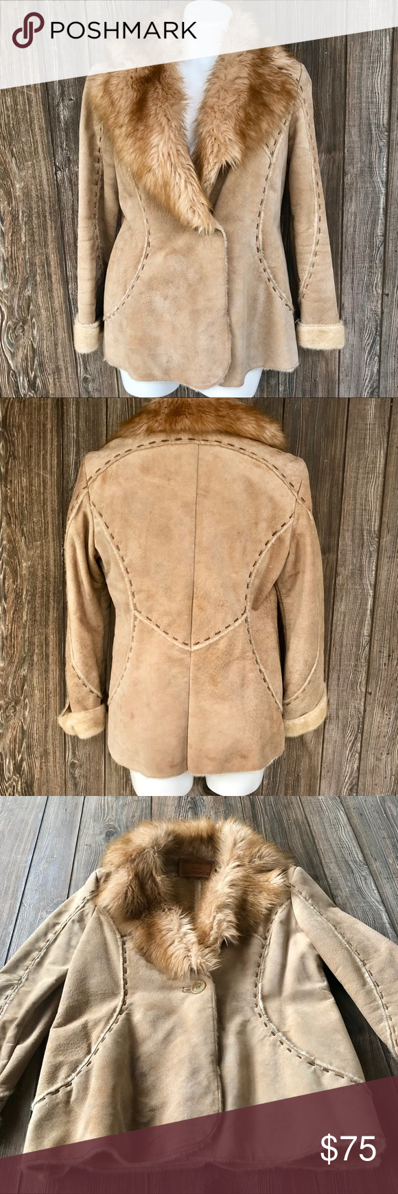GUESS leather coat leather jacket with faux fur