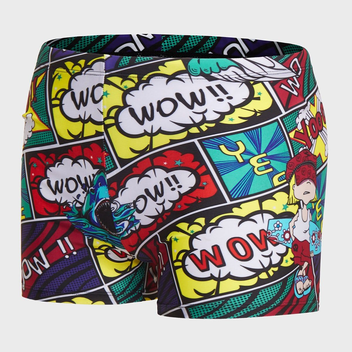 Men Letter And Cartoon Graphic Square Leg Swim Trunks Multicolor Casual Polyester Letter Cartoon Bottoms High Stretch Men Swimwear size features areBust Length Sleeve Len...