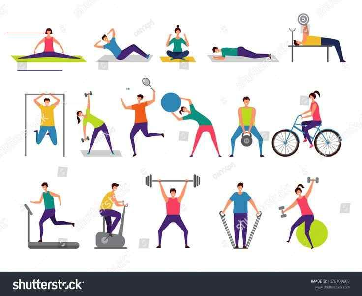 Sport activities. Active people making fitness actions running jumping playing cycling vector charac...