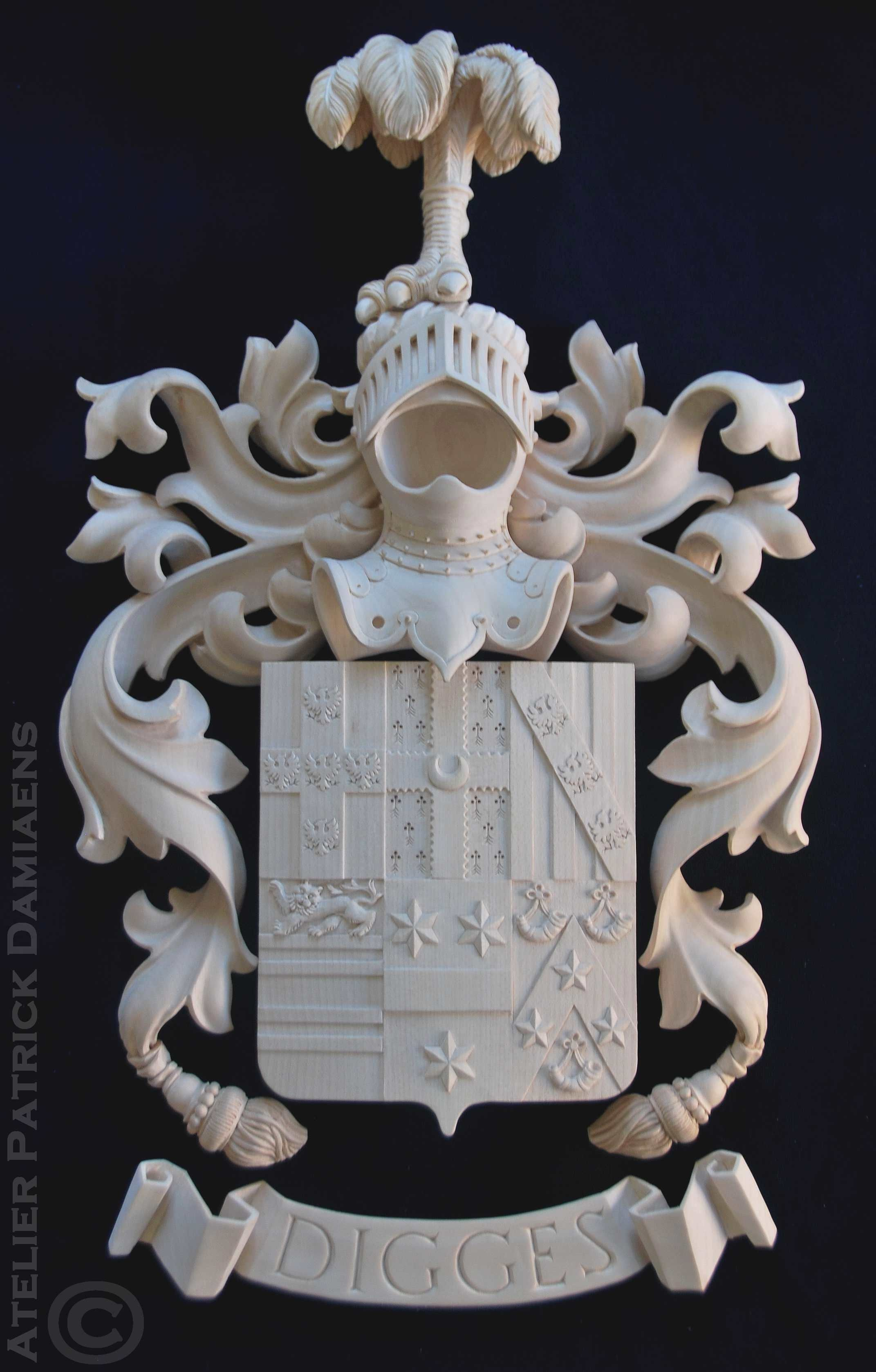 Digges family coat of arms family coat of arms carved in wood