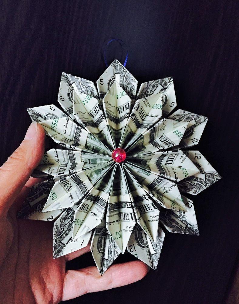 Money Origami Flower Ornament Wreath 12 Real 1 Bills Graduation