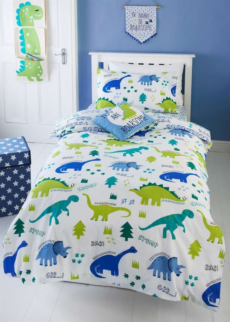 Kids Dinosaur Print Single Double Duvet Cover Green Toddler Boys Room Toddler Bed Set Dinosaur Room Decor