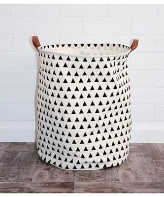 Shop Triangles Canvas Storage Bin With Leather Handles Accessories For A Happy Trendy Modern Home At Low Toy Storage Bags Canvas Storage Toy Storage Baskets
