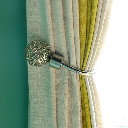 2 Pcs Modern Curtain Holdback Tieback Hollow Metal Tie Tassel Hook