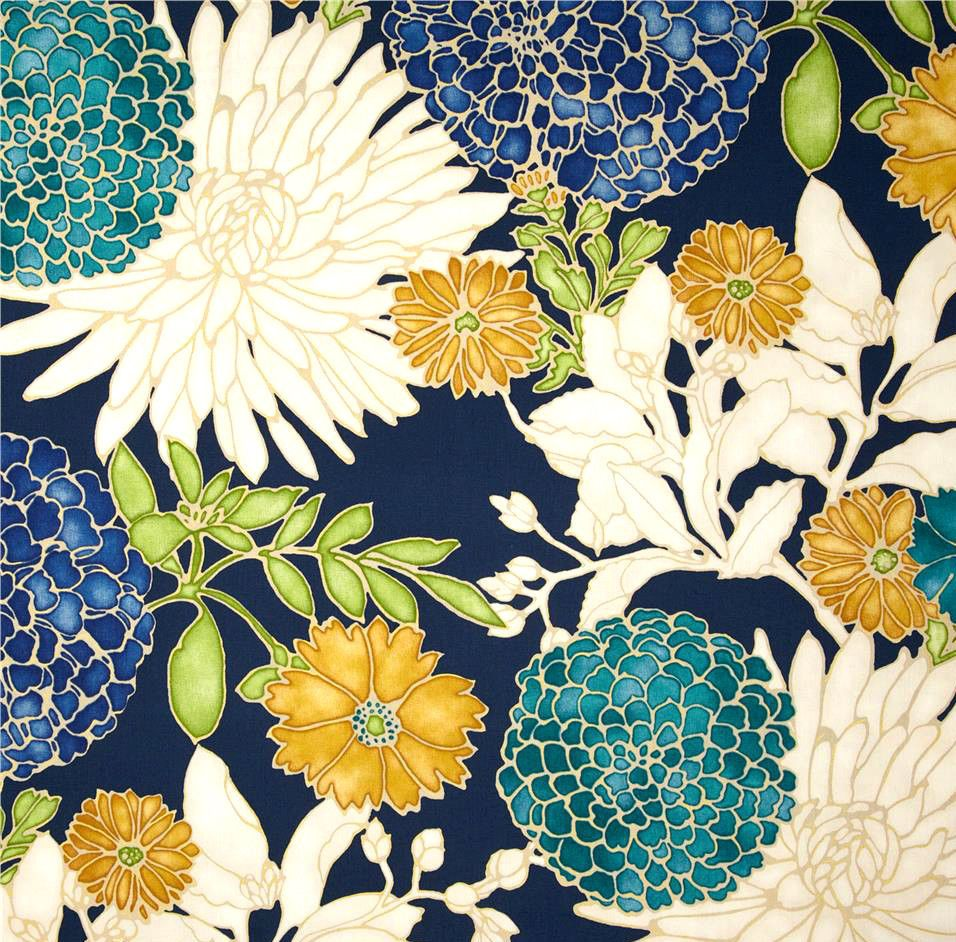 Navy Teal Green Floral Fabric St Moritz Caribbean Drapery
