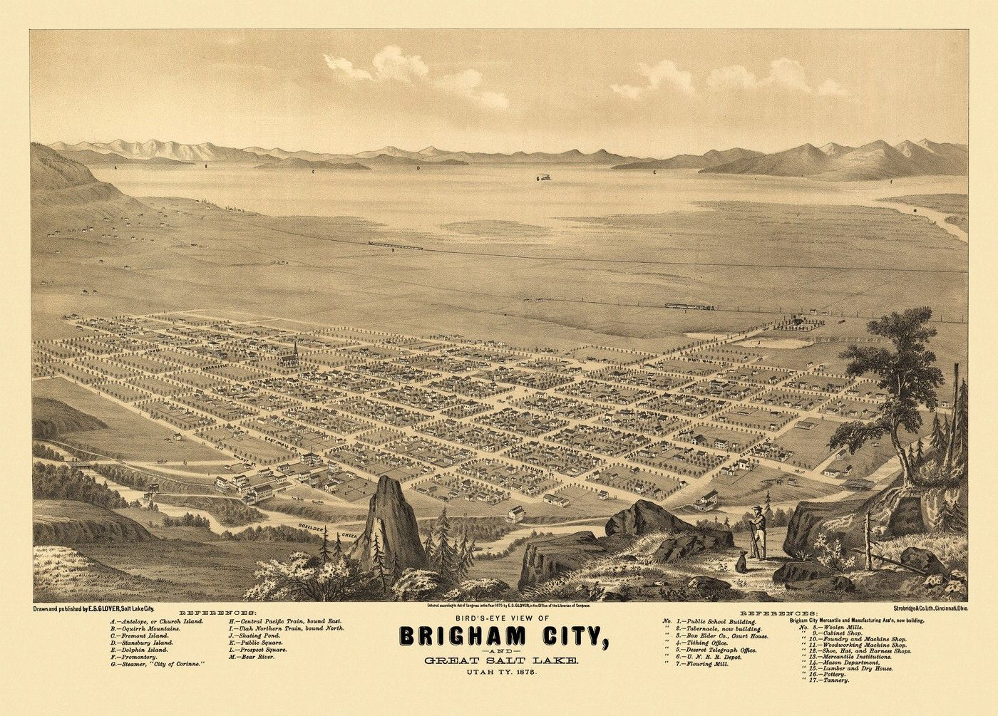 Vintage Map of Brigham City Utah 1875 Box Elder County Poster